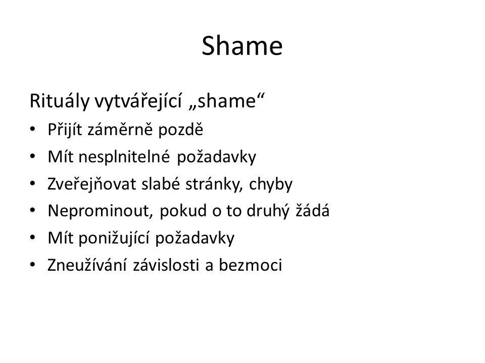 """Shame Rituály vytvářející """"shame Přijít záměrně pozdě"""