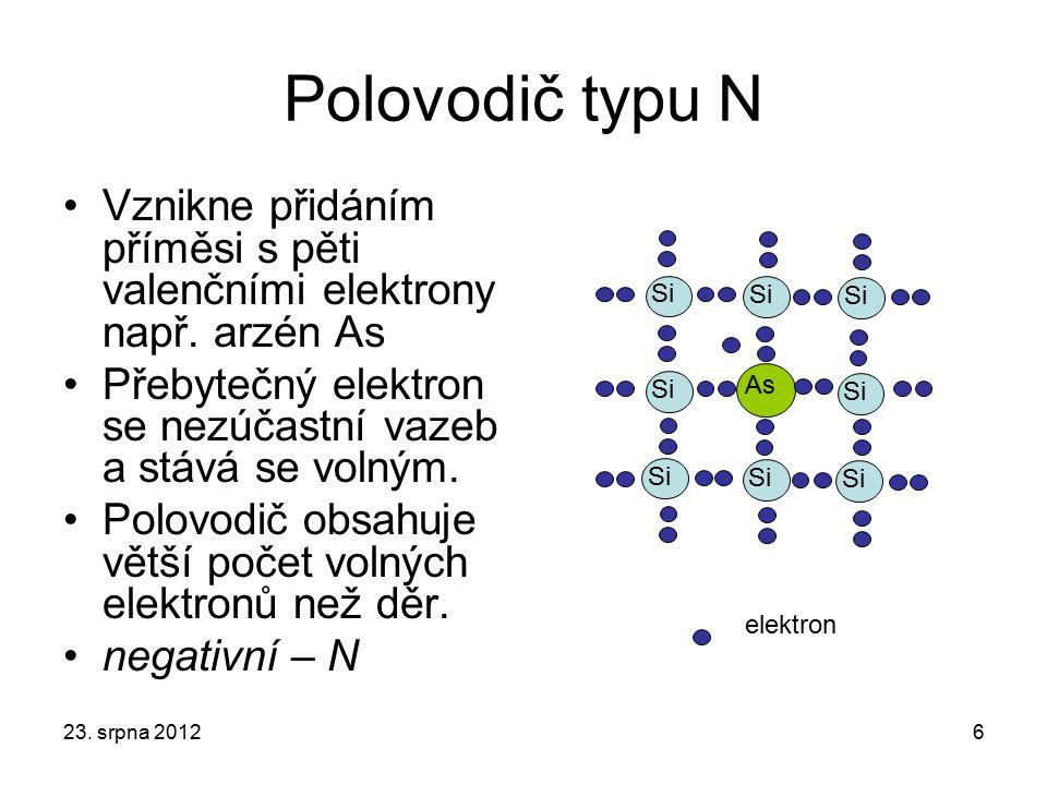 Polovodič typu N Vznikne přidáním příměsi s pěti valenčními elektrony např. arzén As. Přebytečný elektron se nezúčastní vazeb a stává se volným.