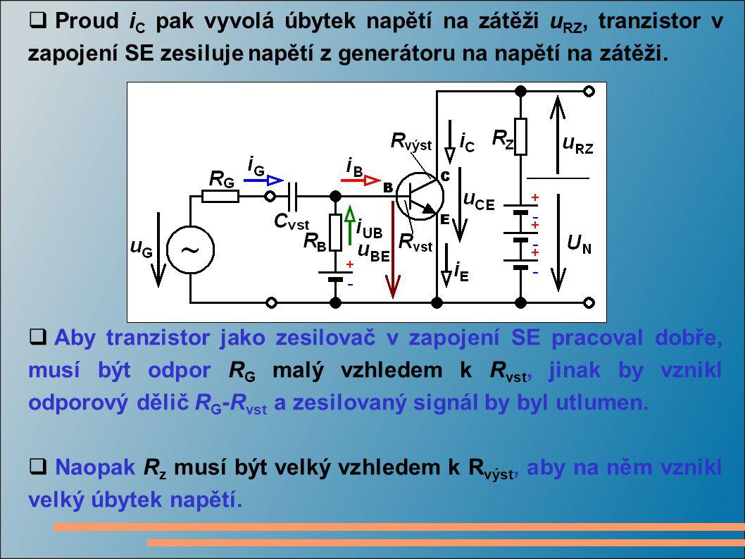 Proud iC pak vyvolá úbytek napětí na zátěži uRZ, tranzistor v zapojení SE zesiluje napětí z generátoru na napětí na zátěži.