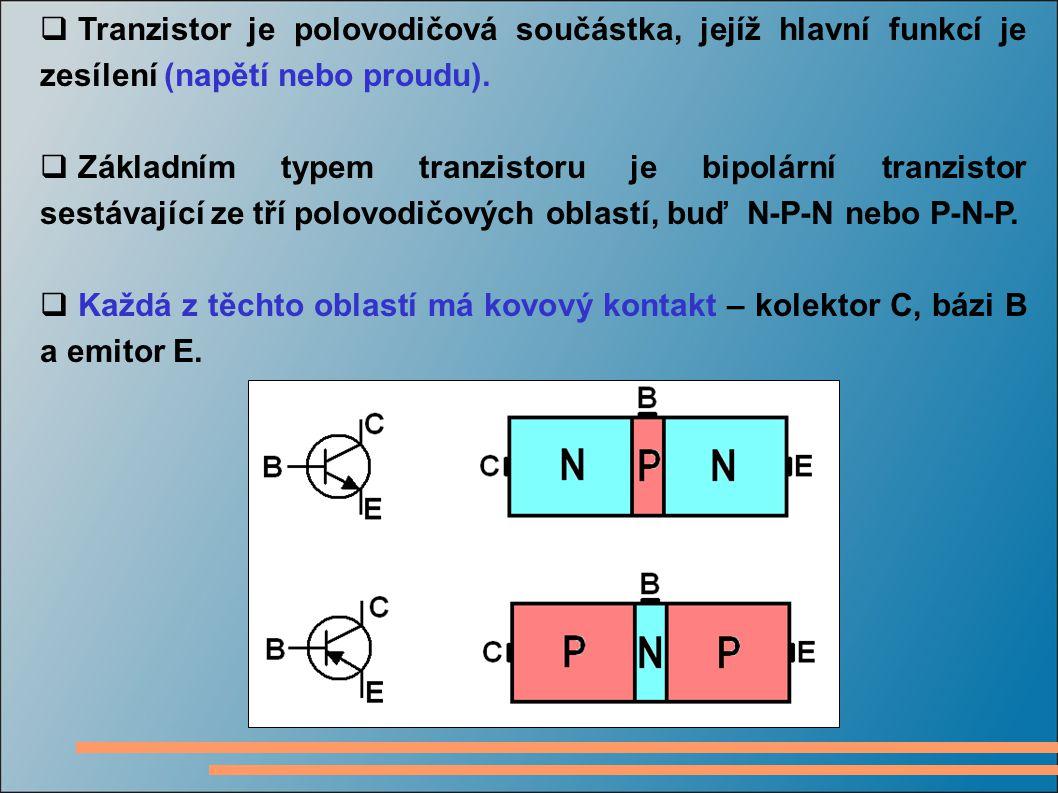 Tranzistor je polovodičová součástka, jejíž hlavní funkcí je zesílení (napětí nebo proudu).