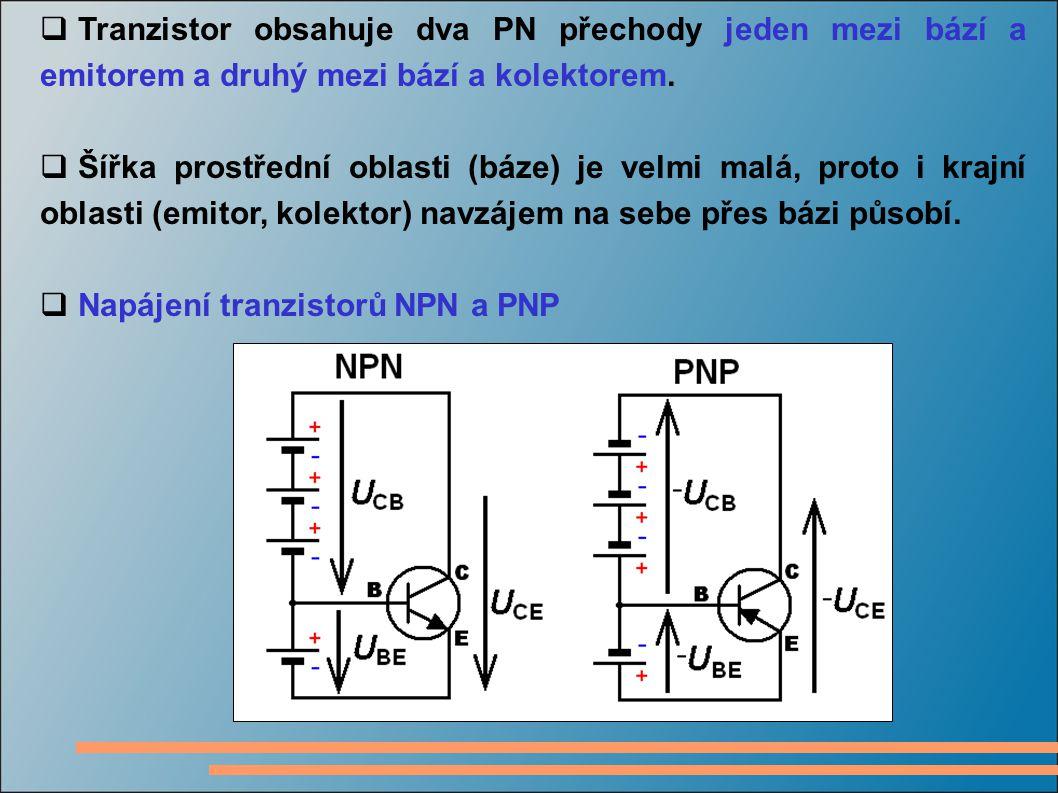 Tranzistor obsahuje dva PN přechody jeden mezi bází a emitorem a druhý mezi bází a kolektorem.