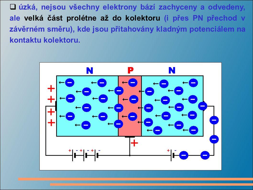 úzká, nejsou všechny elektrony bází zachyceny a odvedeny, ale velká část prolétne až do kolektoru (i přes PN přechod v závěrném směru), kde jsou přitahovány kladným potenciálem na kontaktu kolektoru.