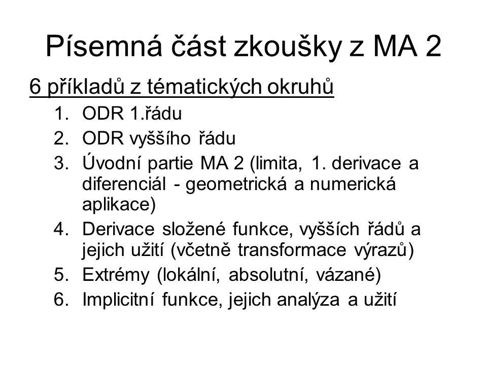 Písemná část zkoušky z MA 2