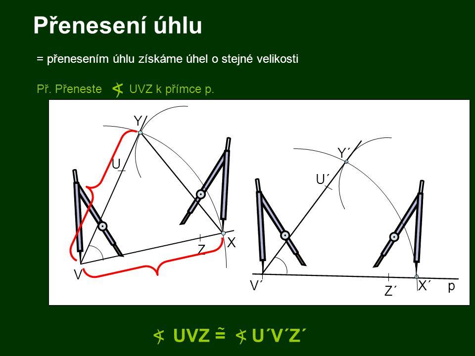Přenesení úhlu < < UVZ = U´V´Z´ ) ) Y Y´ U U´ X Z V V´ X´ p Z´
