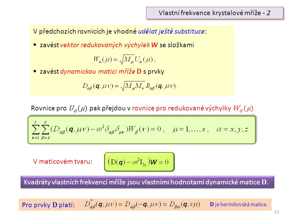 Vlastní frekvence krystalové mříže - 2
