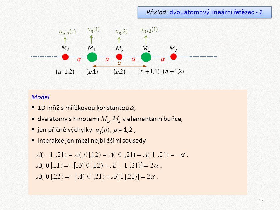 Příklad: dvouatomový lineární řetězec - 1
