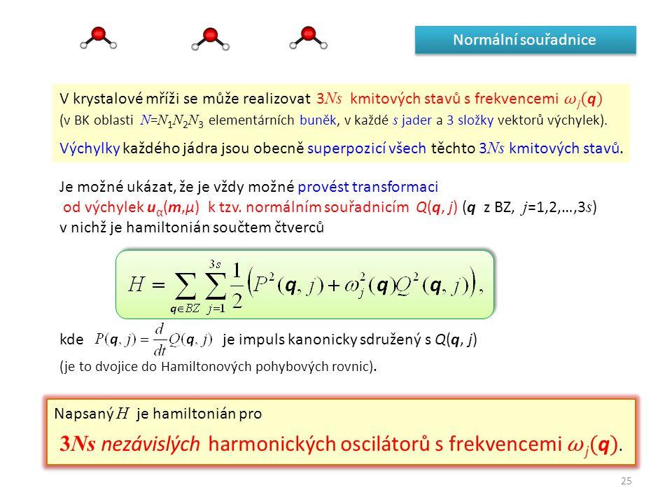 3Ns nezávislých harmonických oscilátorů s frekvencemi ω j(q).