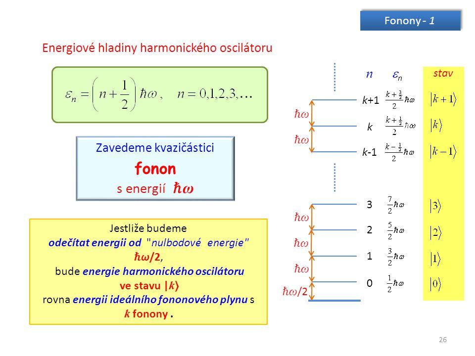 fonon s energií ℏω Energiové hladiny harmonického oscilátoru n n