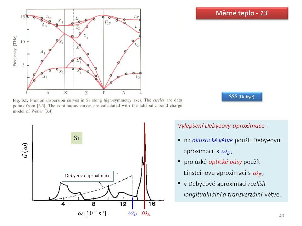 Měrné teplo - 13 Si ωD ωE Vylepšení Debyeovy aproximace :