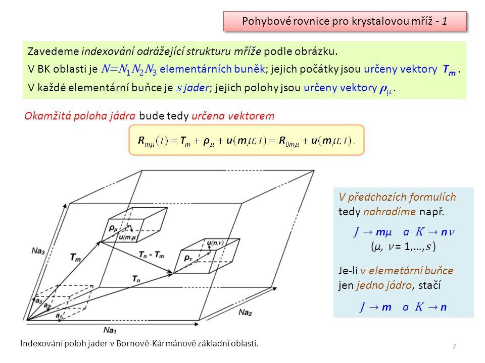 Pohybové rovnice pro krystalovou mříž - 1