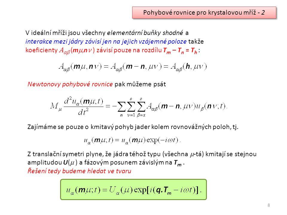 Pohybové rovnice pro krystalovou mříž - 2