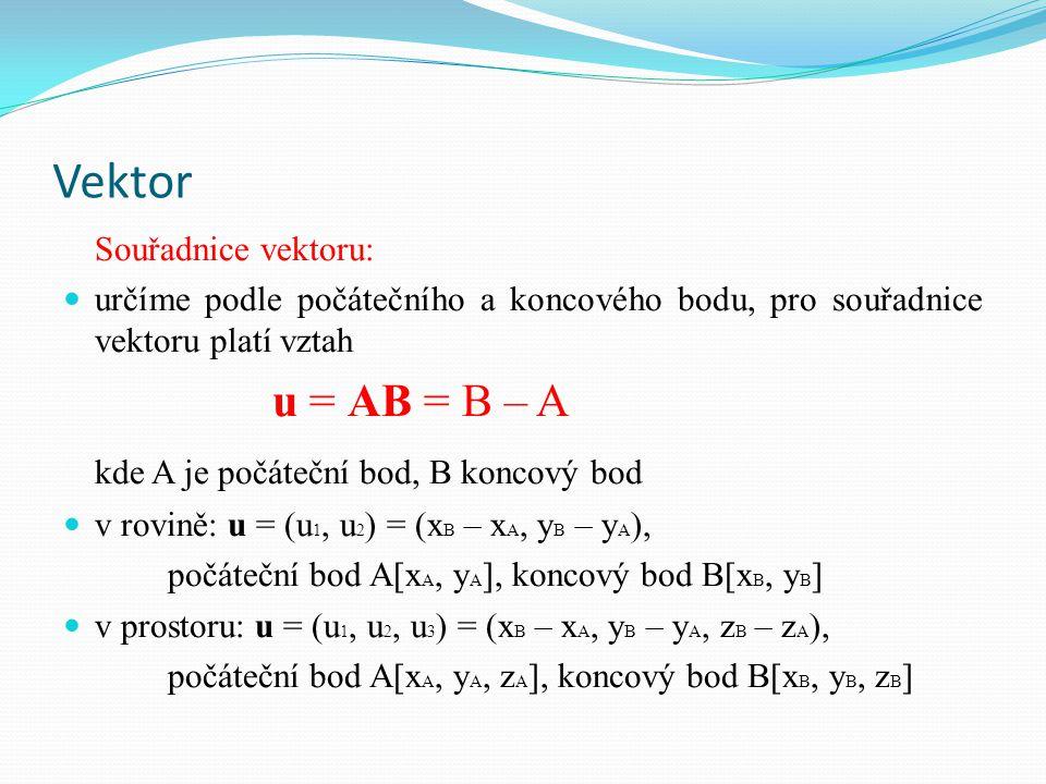 Vektor kde A je počáteční bod, B koncový bod Souřadnice vektoru: