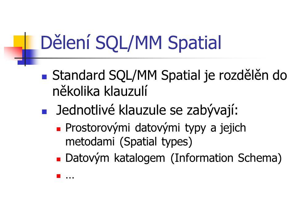 Dělení SQL/MM Spatial Standard SQL/MM Spatial je rozdělěn do několika klauzulí. Jednotlivé klauzule se zabývají:
