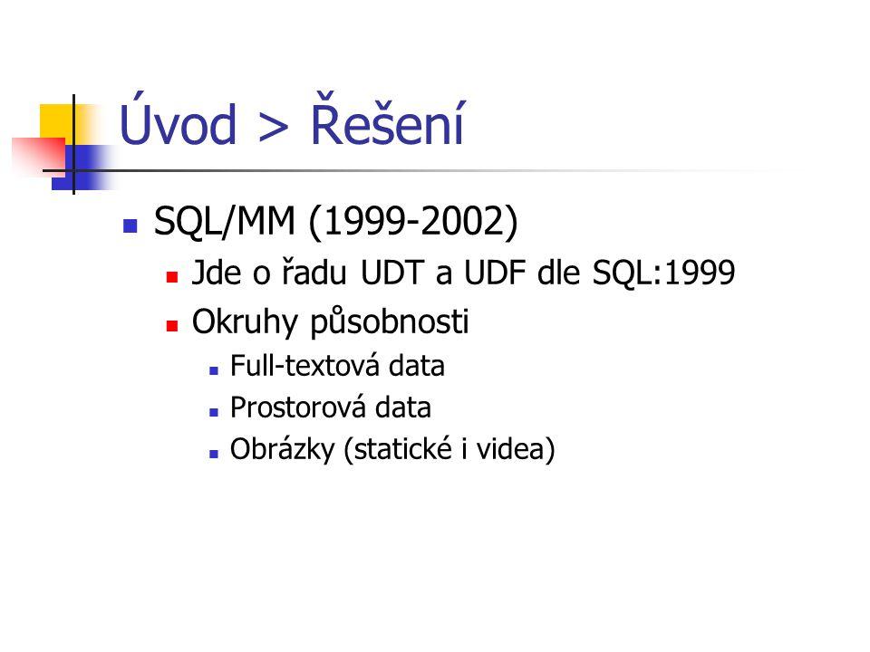 Úvod > Řešení SQL/MM (1999-2002) Jde o řadu UDT a UDF dle SQL:1999