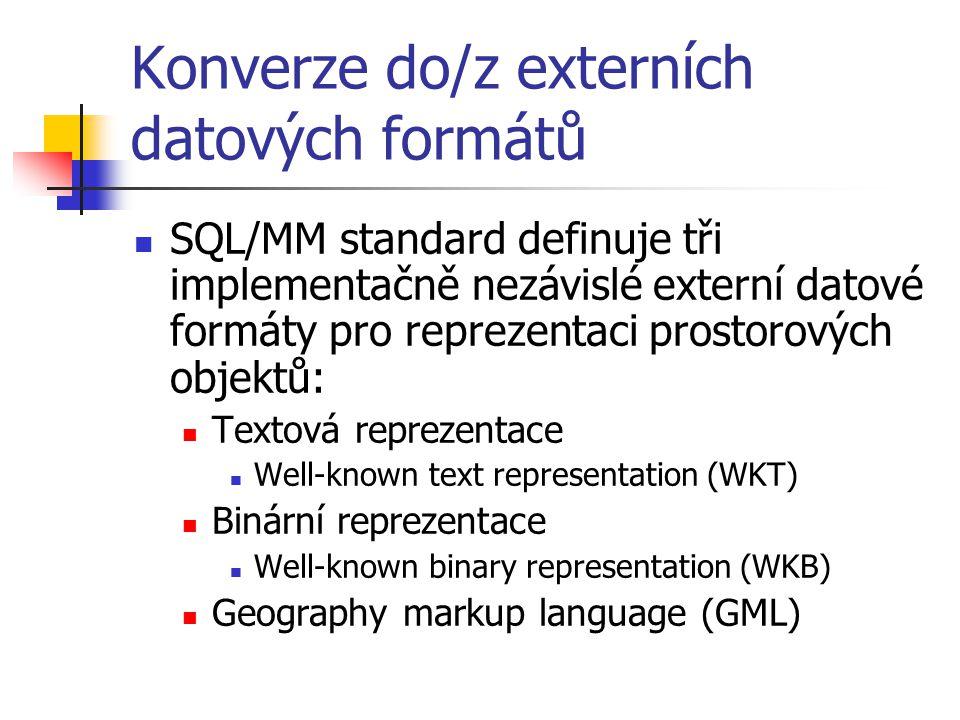 Konverze do/z externích datových formátů