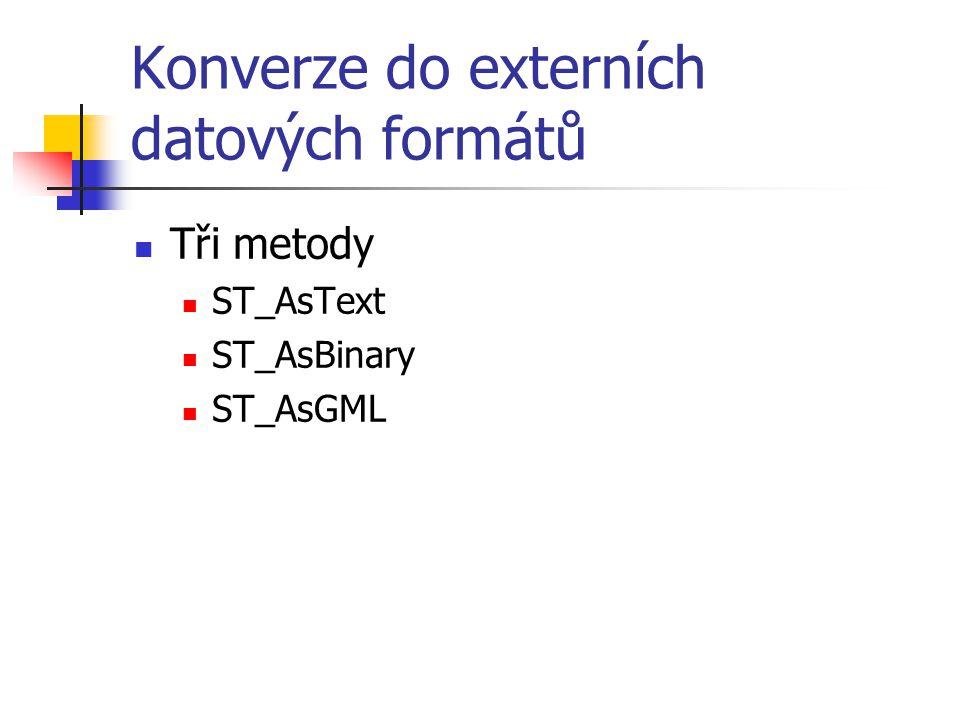 Konverze do externích datových formátů