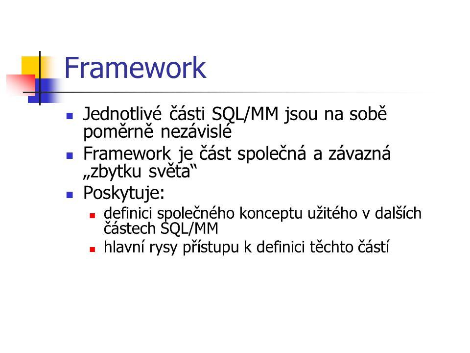 Framework Jednotlivé části SQL/MM jsou na sobě poměrně nezávislé