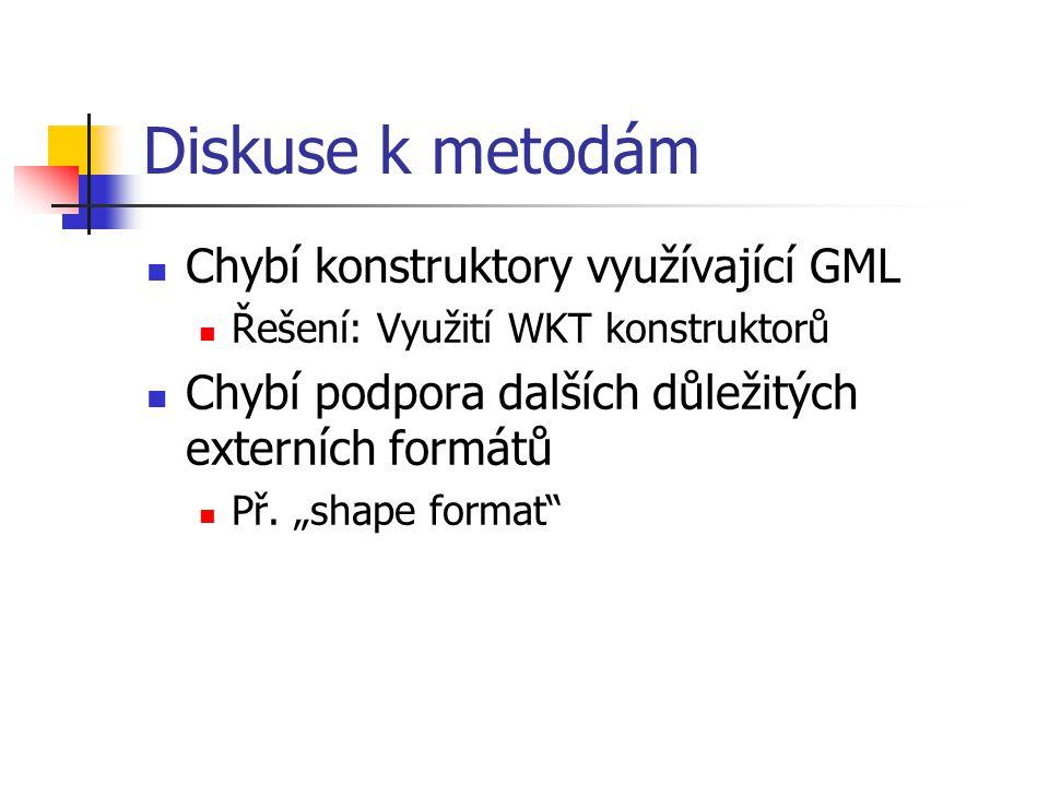 Diskuse k metodám Chybí konstruktory využívající GML