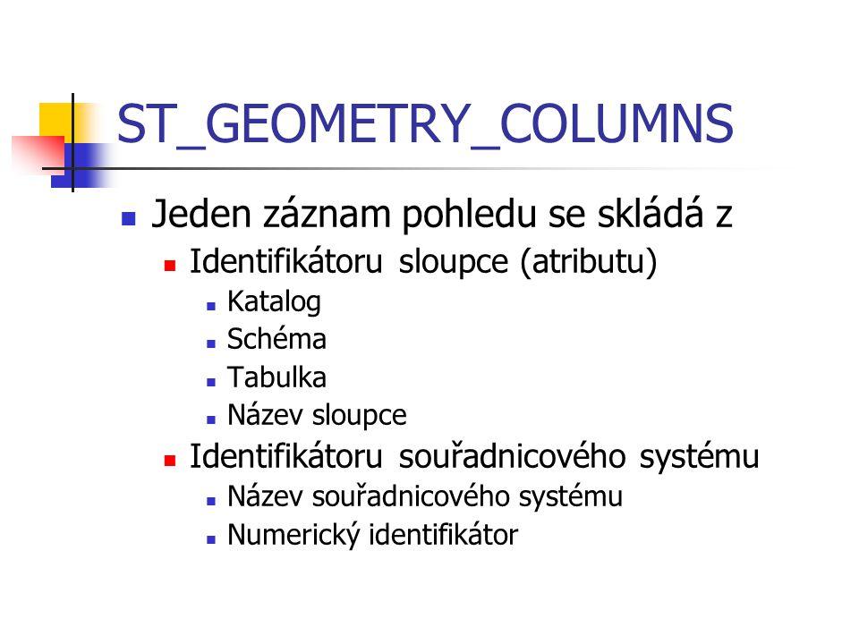 ST_GEOMETRY_COLUMNS Jeden záznam pohledu se skládá z
