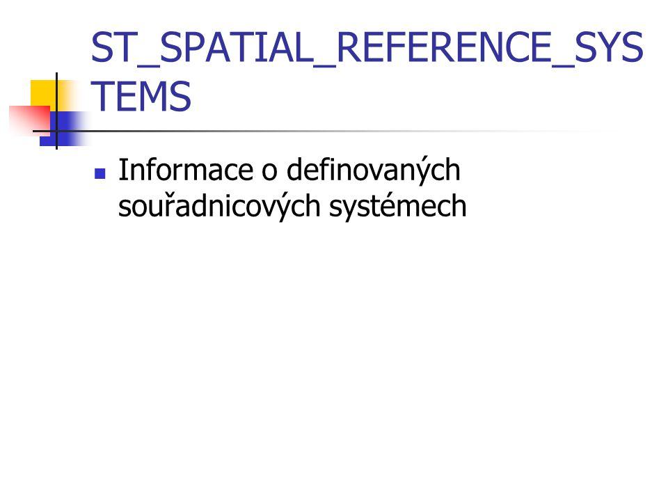 ST_SPATIAL_REFERENCE_SYSTEMS