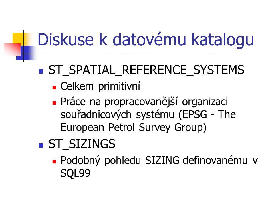 Diskuse k datovému katalogu