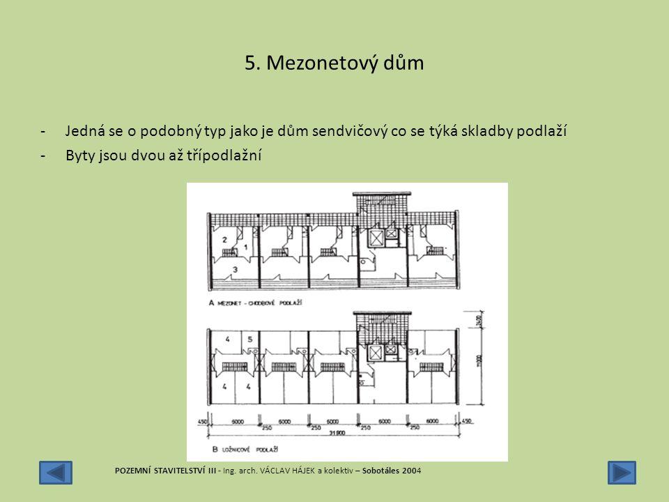 5. Mezonetový dům Jedná se o podobný typ jako je dům sendvičový co se týká skladby podlaží. Byty jsou dvou až třípodlažní.