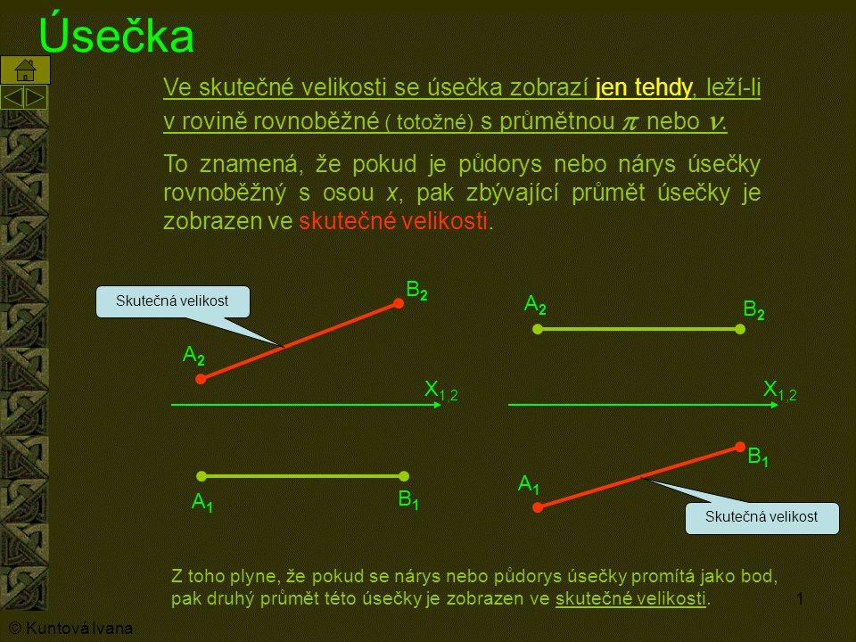 Úsečka Ve skutečné velikosti se úsečka zobrazí jen tehdy, leží-li v rovině rovnoběžné ( totožné) s průmětnou p nebo n.
