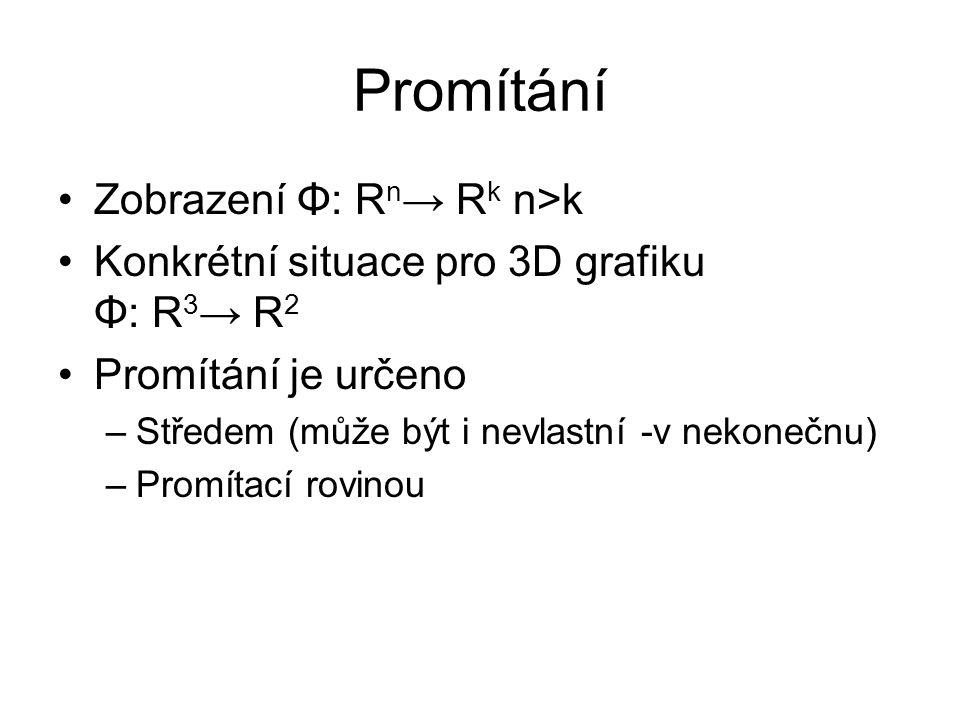 Promítání Zobrazení Φ: Rn→ Rk n>k