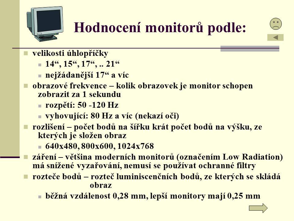 Hodnocení monitorů podle: