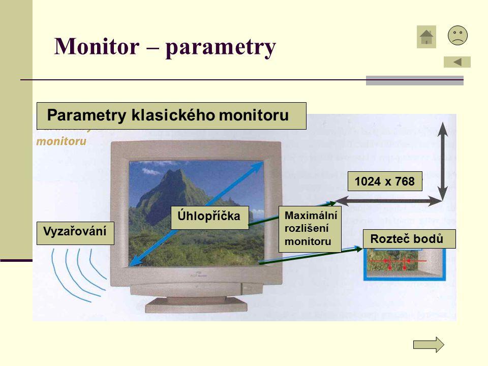 Monitor – parametry Parametry klasického monitoru 1024 x 768