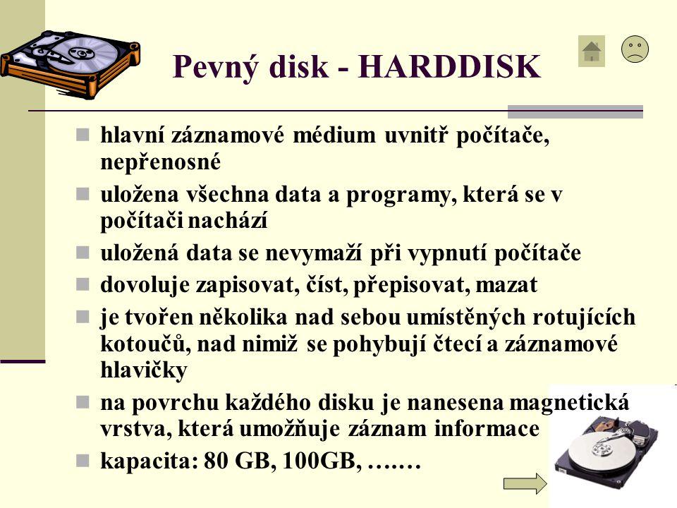Pevný disk - HARDDISK hlavní záznamové médium uvnitř počítače, nepřenosné. uložena všechna data a programy, která se v počítači nachází.