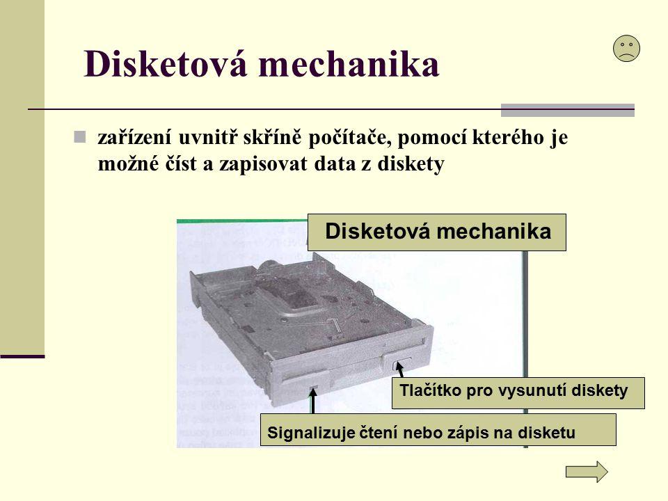 Disketová mechanika zařízení uvnitř skříně počítače, pomocí kterého je možné číst a zapisovat data z diskety.