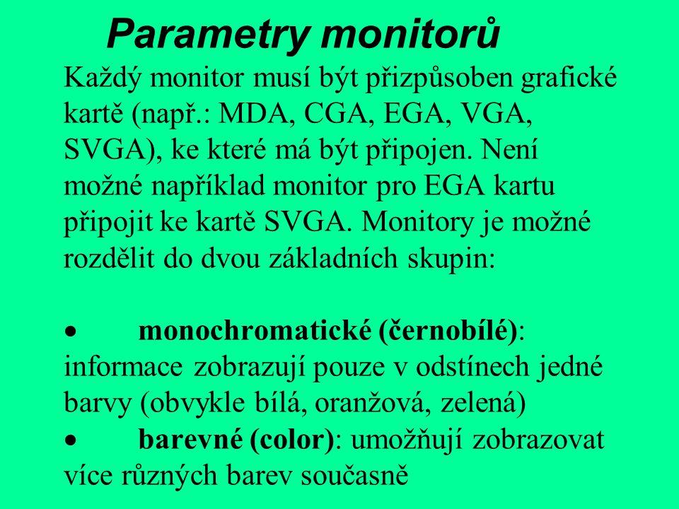 Parametry monitorů Každý monitor musí být přizpůsoben grafické kartě (např.: MDA, CGA, EGA, VGA, SVGA), ke které má být připojen.