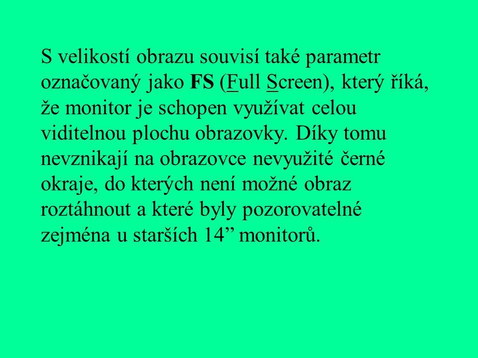 S velikostí obrazu souvisí také parametr označovaný jako FS (Full Screen), který říká, že monitor je schopen využívat celou viditelnou plochu obrazovky.