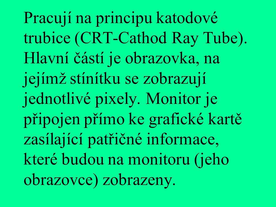 Pracují na principu katodové trubice (CRT-Cathod Ray Tube)