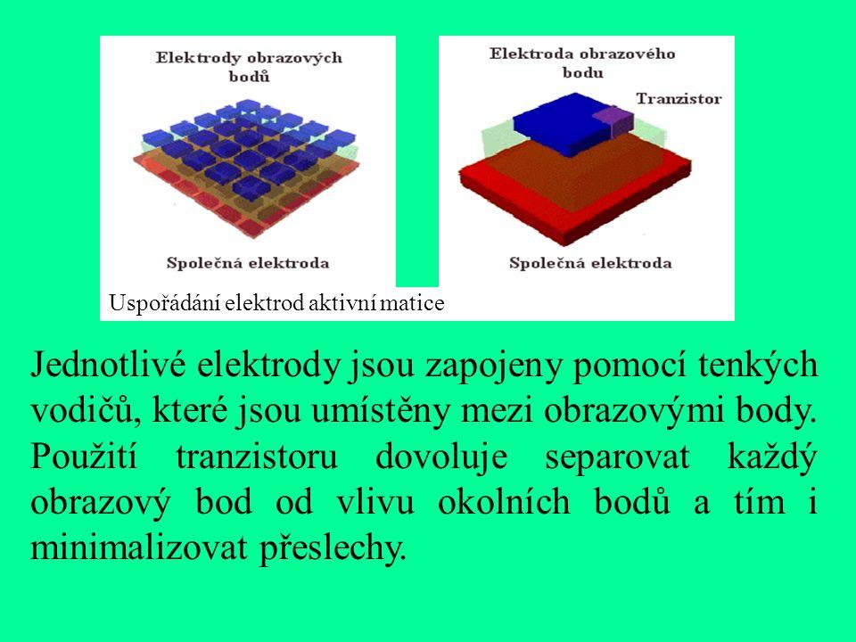Uspořádání elektrod aktivní matice