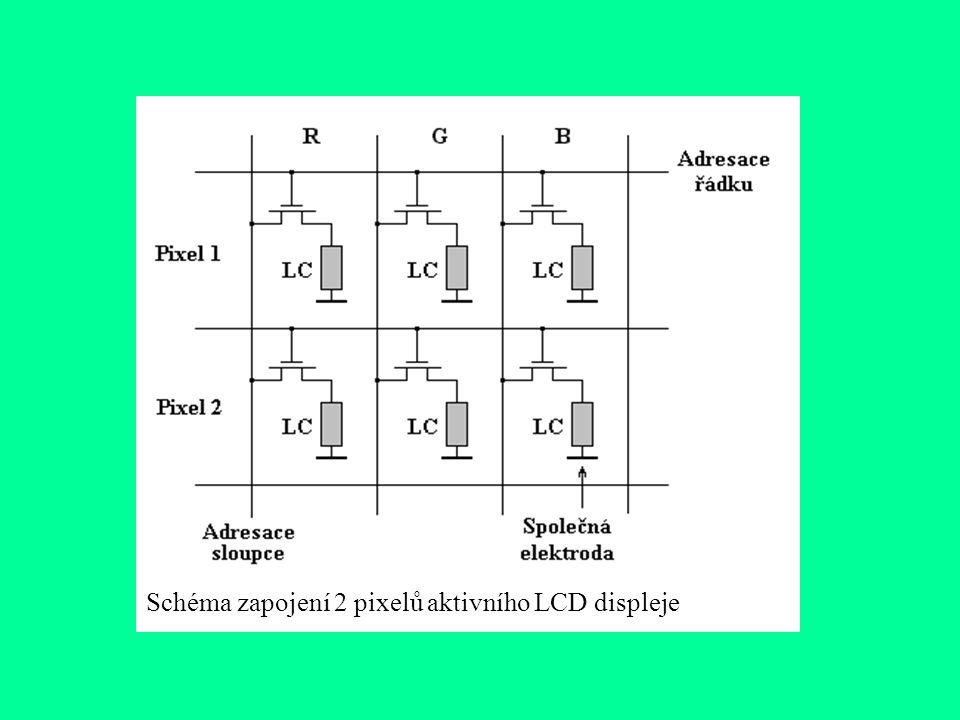Schéma zapojení 2 pixelů aktivního LCD displeje