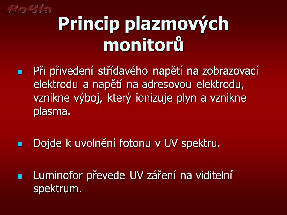 Princip plazmových monitorů