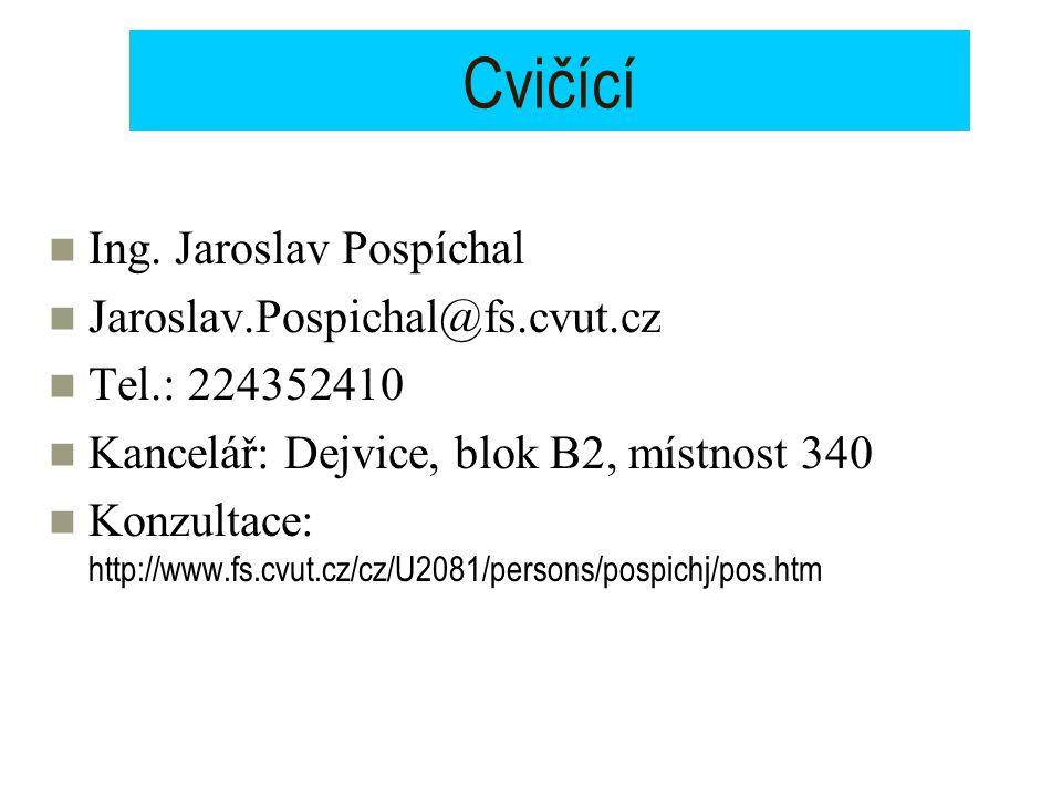 Cvičící Ing. Jaroslav Pospíchal Jaroslav.Pospichal@fs.cvut.cz