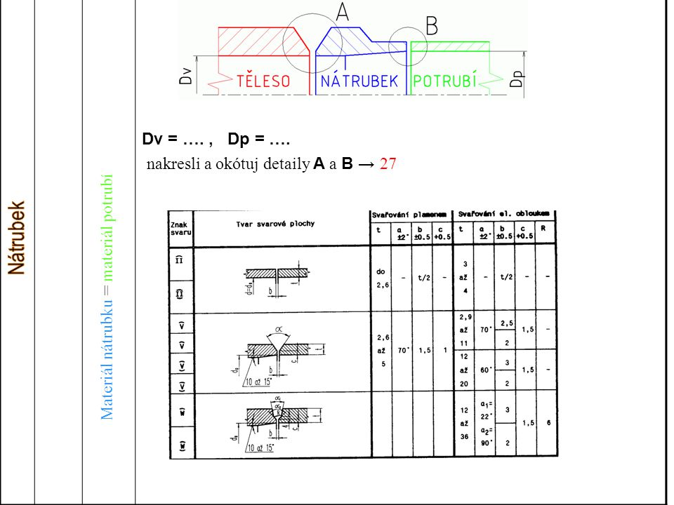 nakresli a okótuj detaily A a B → 27