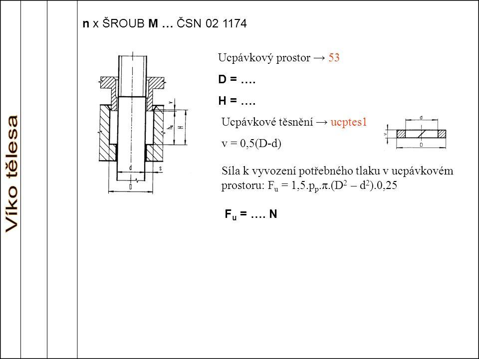 Ucpávkové těsnění → ucptes1 v = 0,5(D-d)