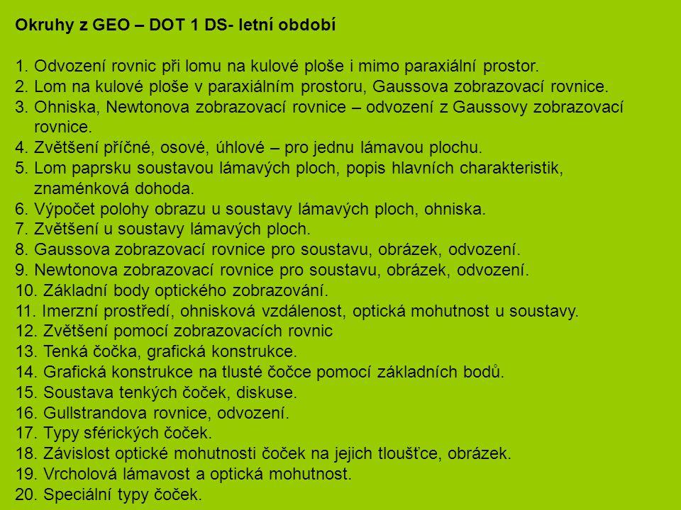 Okruhy z GEO – DOT 1 DS- letní období