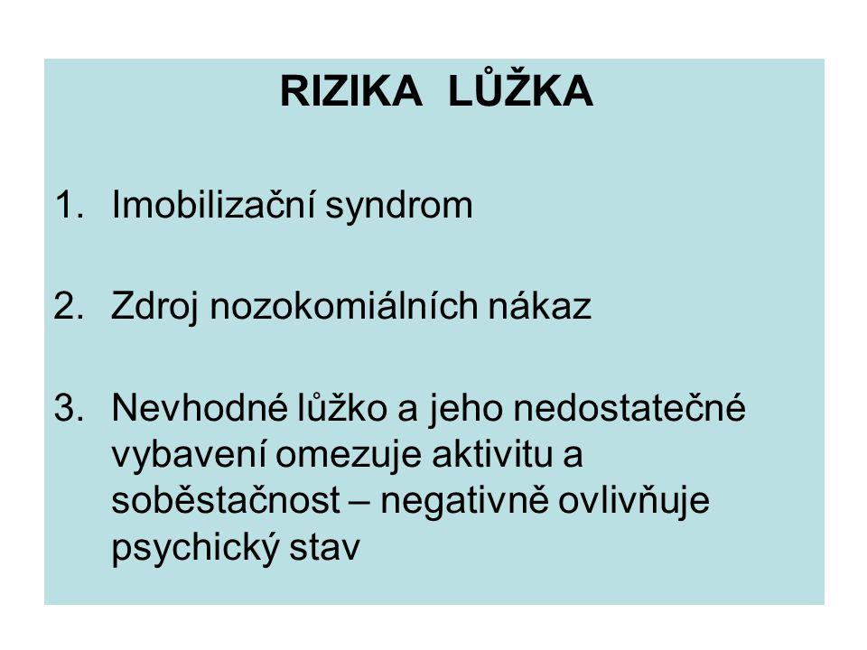 RIZIKA LŮŽKA 1. Imobilizační syndrom. 2. Zdroj nozokomiálních nákaz.