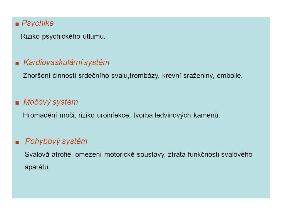 ■ Psychika Riziko psychického útlumu. ■ Kardiovaskulární systém. Zhoršení činnosti srdečního svalu,trombózy, krevní sraženiny, embolie.