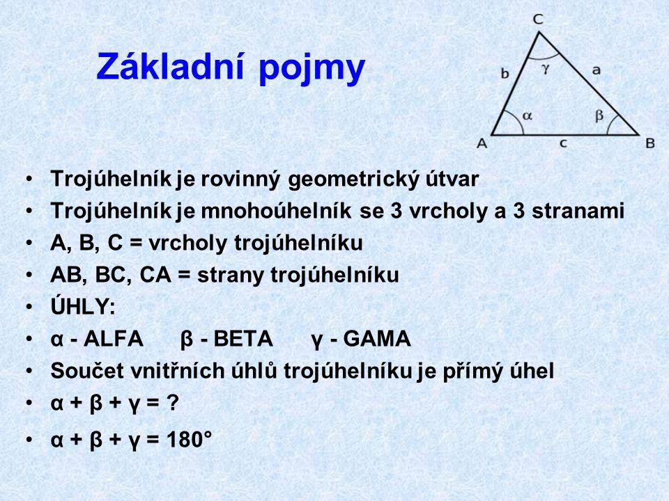 Základní pojmy Trojúhelník je rovinný geometrický útvar
