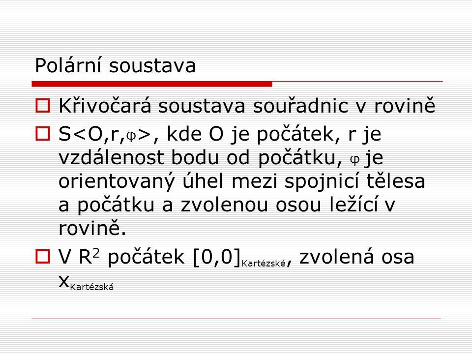 Polární soustava Křivočará soustava souřadnic v rovině.