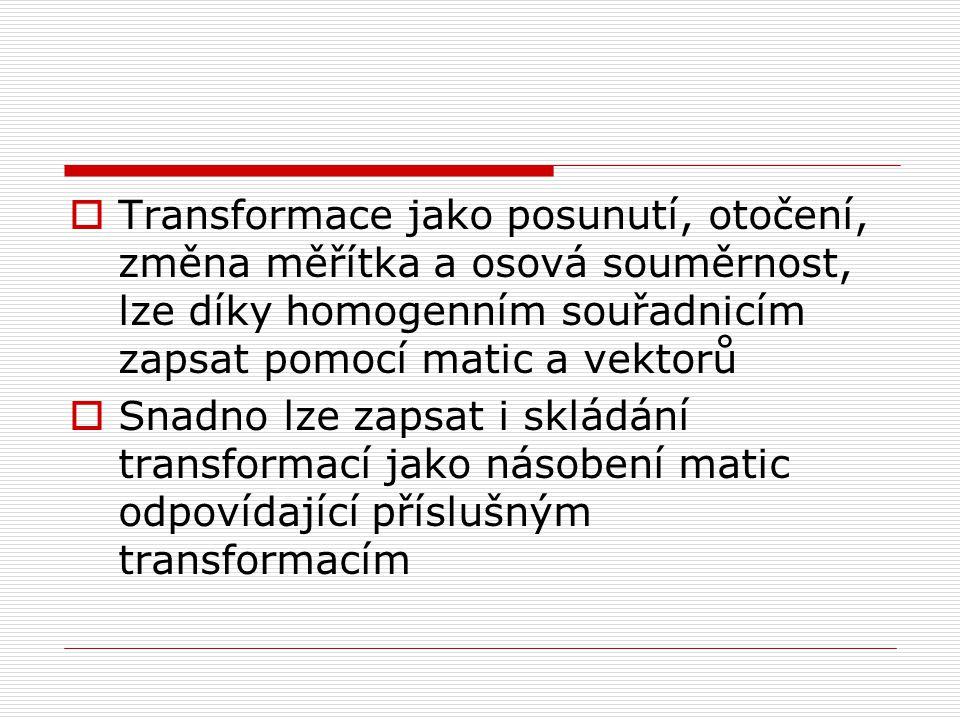 Transformace jako posunutí, otočení, změna měřítka a osová souměrnost, lze díky homogenním souřadnicím zapsat pomocí matic a vektorů