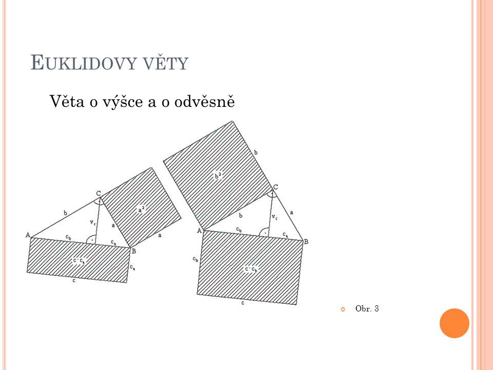 Euklidovy věty Věta o výšce a o odvěsně Obr. 3