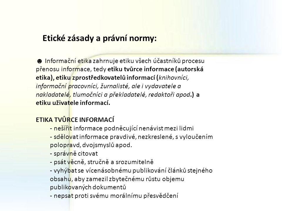 Etické zásady a právní normy: