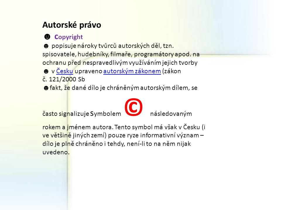 Autorské právo ☻ copyright